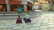 Red Yoshi, King Boo, and Blue Male Pianta in Wuhu Island in Mario Kart 8 Deluxe