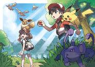 Pokémon Let's Go, Pikachu! and Let's Go, Eevee! - PR art With Partner Pokémon