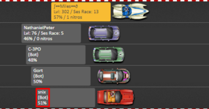 A ghost racer being listed as a bot
