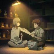 Episode 1 Screenshot (13)- Shion and Nezumi sitting down
