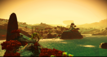 Beautiful blue grass, pretty plants and trees. Surface consists out of rather large islands and lots of water.