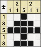 Black-and-White Nonograms, 5x5, Airplane