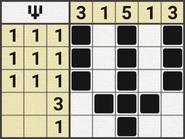 Black-and-White Nonograms, 5x5, Psi