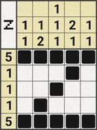 Black-and-White Nonograms, 5x5, Zorro