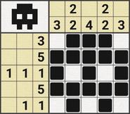 Black-and-White Nonograms, 5x5, Skull