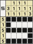 Black-and-White Nonograms, 5x5, Snake