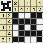 Black-and-White Nonograms, 5x5, Shuriken