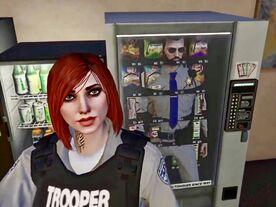 Snow in vending machine with Cooper selfie