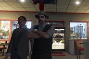 Pilbis disguised as Maverick Jackson waiting in line at Burger Shot with Leslie Lingberg