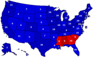 United States presidential election results by state (with percentages and electoral votes), 2016 (Ferguson Scenario)