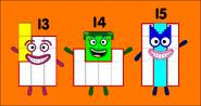 Numberblocks 13, 14, and 15