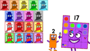 Numberblock 2 with his 17 portraits