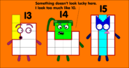 Numberblocks 13, 14, and 15 before the makeover