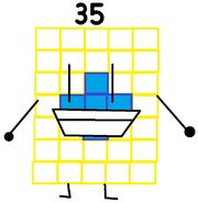 Numberblock 35 the Connect Four player