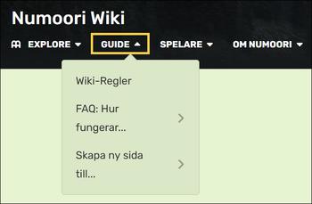 """En bild som visar Numoori Wikis huvudmeny, med """"Guide"""" alternativet inringat i gul färg."""