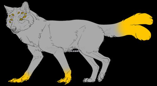 En hellhound med många ögon i ansiktet, deformerade framtassar och en kluven svanstipp.