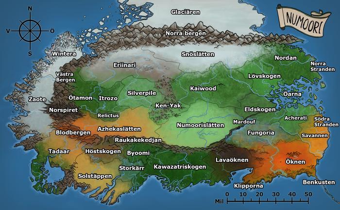 En karta över Numoori. Över varje område står respektive områdes namn.