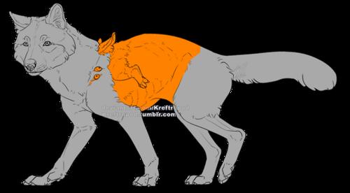 En hellhound med avvikande kroppsform, ett litet deformerat extra ben bakom frambenen, och ögon och öron på axlarna och skuldrorna