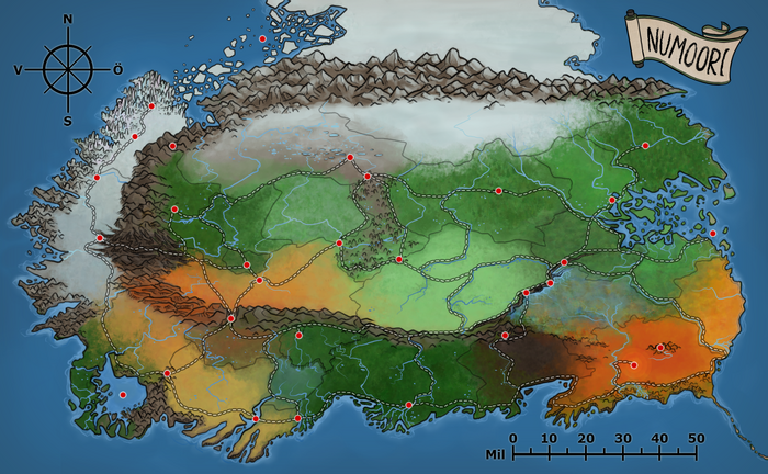 En karta över Numoori, där landets vandringsleder markerats ut, utan text.