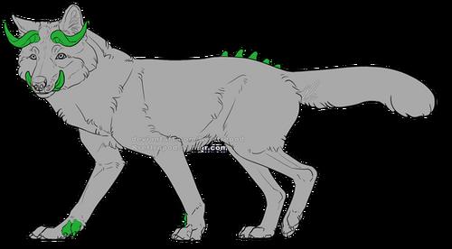 En hellhound med horn och betar. Den har taggar på ryggen, och en extra tå på varje framtass.