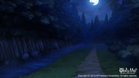 Devil's Quest forest at night