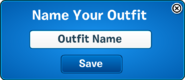 Outfit Saver Save pop up