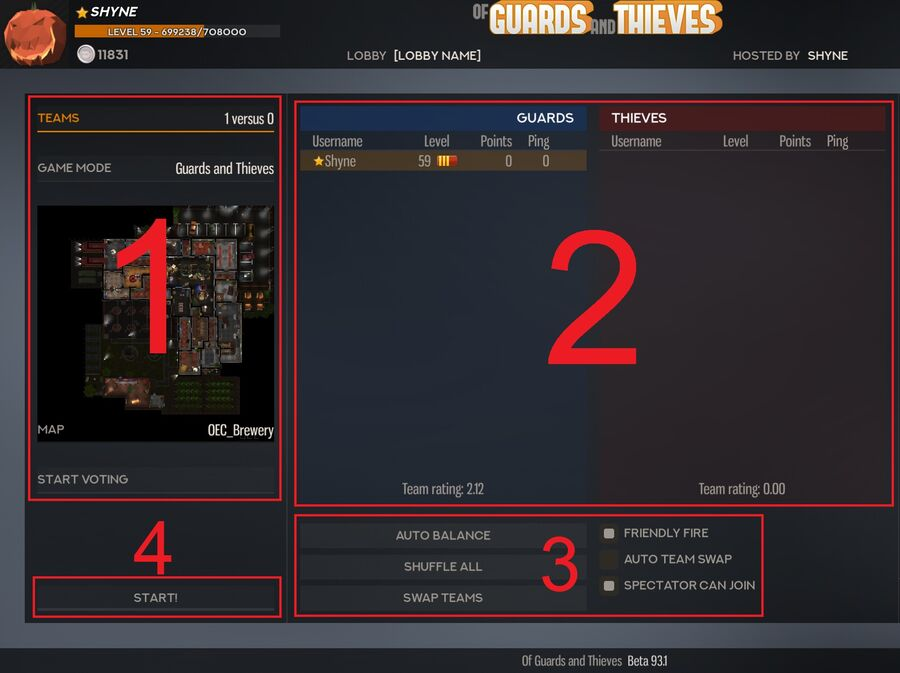 The pannel number [1], one the left is the Map and Gamemode settings panel. The pannel number [2], in the middle is the team list, it shows the players currently in the lobby, and in wich team they are. The pannel number [3], at the bottom, is the team settings. The button [4] at the bottom left is the start button, it is used to start a game.