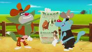 Cowboy Jack Holds a Buffalo Bill and Cowboy Oggy is Happy