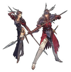 Artwork of the Valkyrie and Rune Fencer in Tactics Ogre: Let Us Cling Together (PSP)