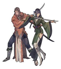 The Swordmaster's class artwork for the PSP version of Tactics Ogre: Let Us Cling Together.