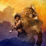 Cyrene punching lion