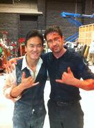 OHF- Steve Kim on-set with Gerard Butler