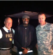 OHF actor Elliott Grey (left) with director Antoine Fuqua and Terry Dale Parks
