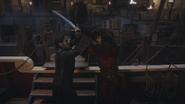 3x17 Killian Jones Capitaine Crochet Barbe Noire affrontement confrontation duel corps à corps