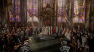 6x10 cérémonie adoubement Princesse Emma Swan Reine Blanche-Neige Roi David chapelle pavillon annonce trompettes arrivée Sir Prince Henry