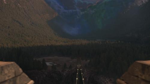 1x01 Sort noir Malédiction nuage Royaume forêt enchantée montagne vallée vallon vue palais royal.png