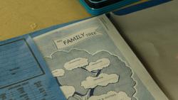 3x11 devoir classe Henry Mills cahier arbre généalogique famille.png