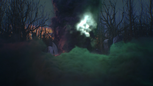 1x02 Sort noir Malédiction lancement nuage fumée violette verte éclair sanctuaire pierres rochers arbres forêt.png