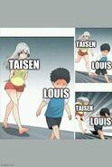 Taisen persiguiendo a Louis meme