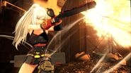 Rei firing shotgun