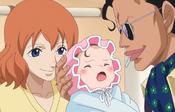 En Gimlet amb els seus pares poc després de néixer.