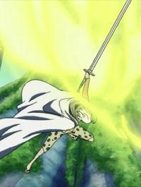 Espasa durant la lluita contra en Kizaru