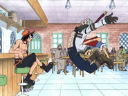 Luffy rammt Smoker zur Seite