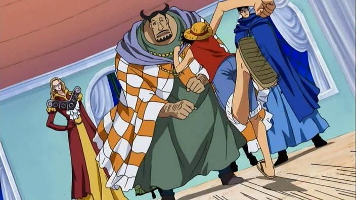 Monkey D. Luffy und Roronoa Zoro gegen Rob Lucci, Kaku, Kalifa und Blueno