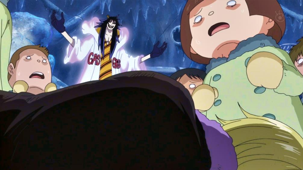 Caesar Clown vs. Nami (en el cuerpo de Sanji) y Usopp