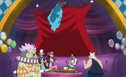 Buggy Showing Off as His Crew Feasts.png