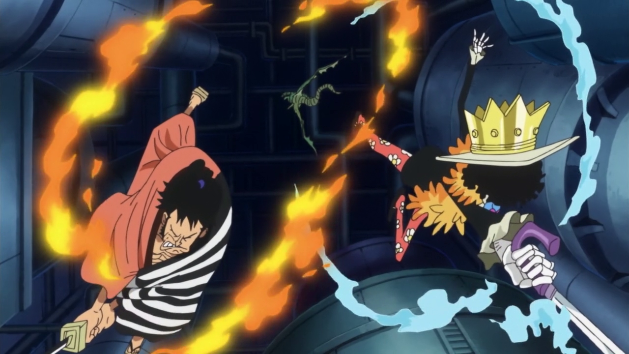 Kin'emon, Brook, Nami, Usopp y Nico Robin vs. Dragón de Vegapunk