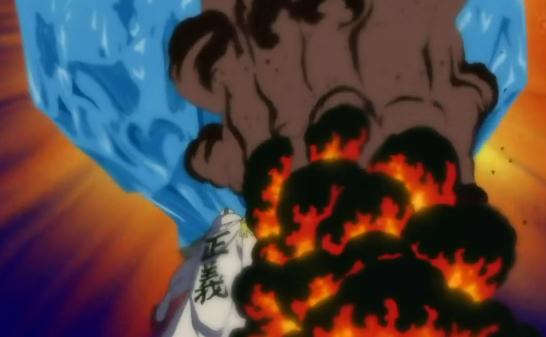 Jozu vs. Sakazuki y Vicealmirantes Gigantes