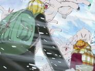Luffy, Nami und Sanji werden von Lapins angegriffen