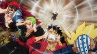Luffy Zoro et Kid esquivant une attaque d'Apoo